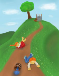 Picture of Jack & Jill falling down a hill
